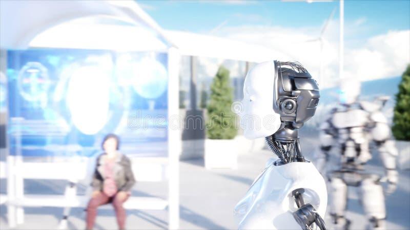 Kvinnligt gå för robot Sci fi station Futuristisk enskenig järnvägtransport Begrepp av framtid Folk och robotar framförande 3d stock illustrationer