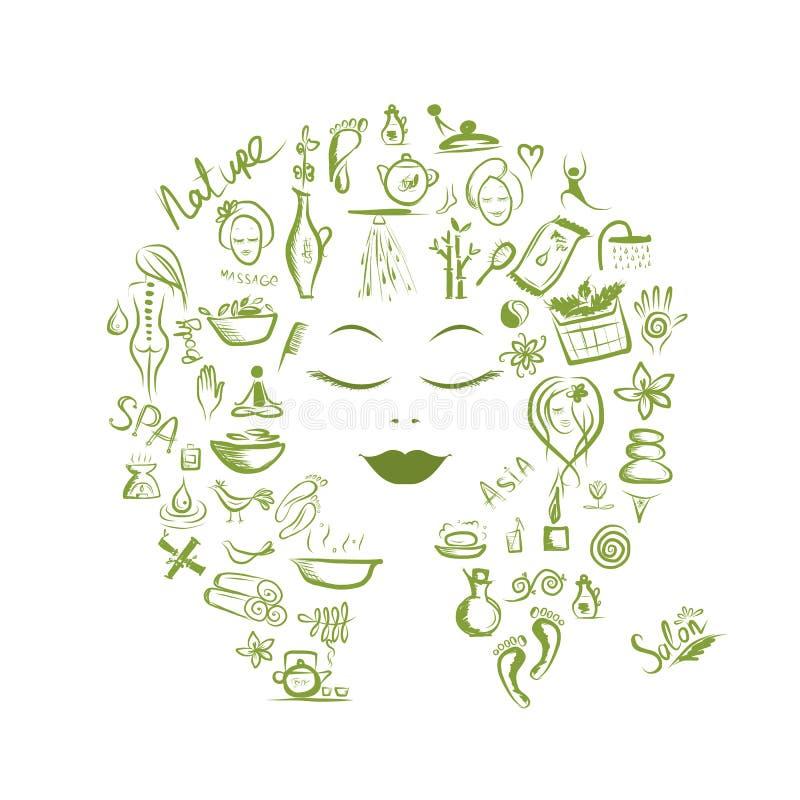 Kvinnligt huvud, brunnsortbegrepp för din design vektor illustrationer