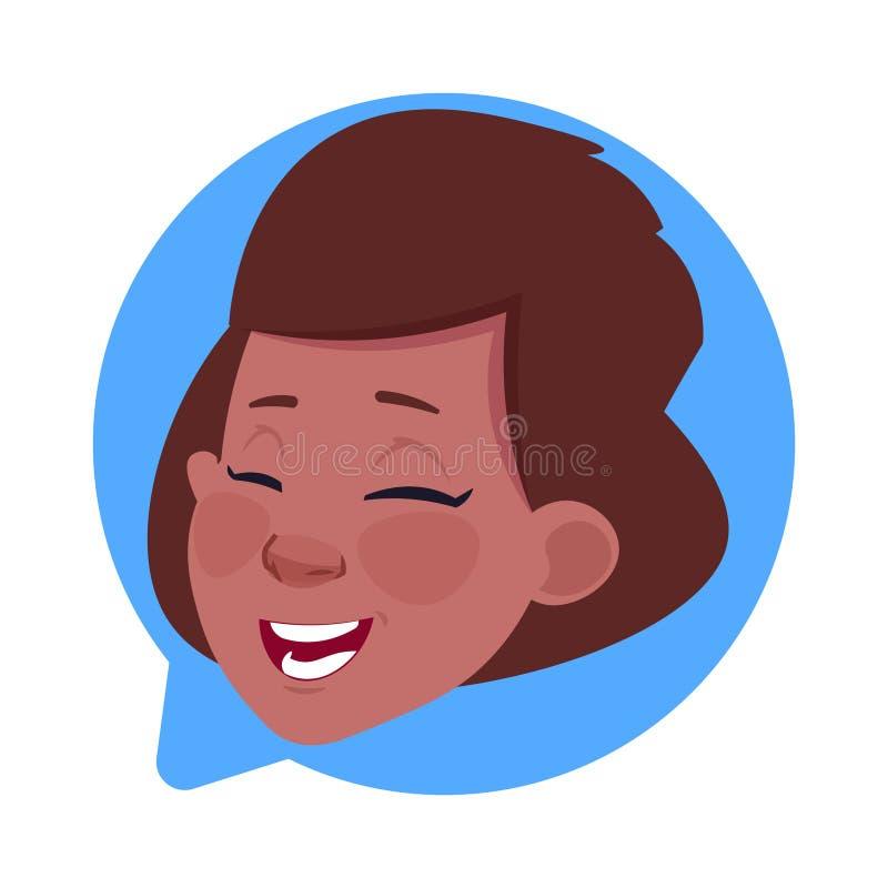 Kvinnligt huvud för profilsymbolsafrikansk amerikan i den isolerade pratstundbubblan, stående för tecken för kvinnaAvatartecknad  vektor illustrationer