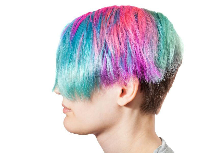 Kvinnligt huvud med mång- kulöra färgade hår royaltyfria bilder