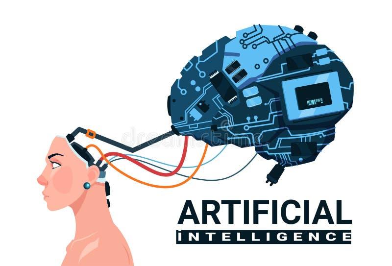 Kvinnligt huvud med modernt begrepp CyborgBrain Isolated On White Background för konstgjord intelligens vektor illustrationer
