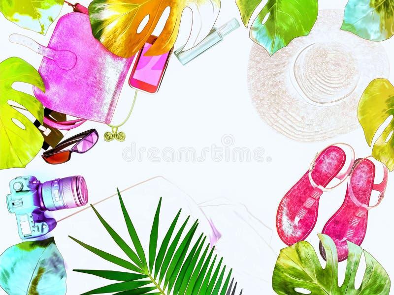 Kvinnligt mode för färgrik sommar Sugrörhatten, den rosa läderpåsen, kameran, sandaler, solglasögon, gömma i handflatan filialer  vektor illustrationer