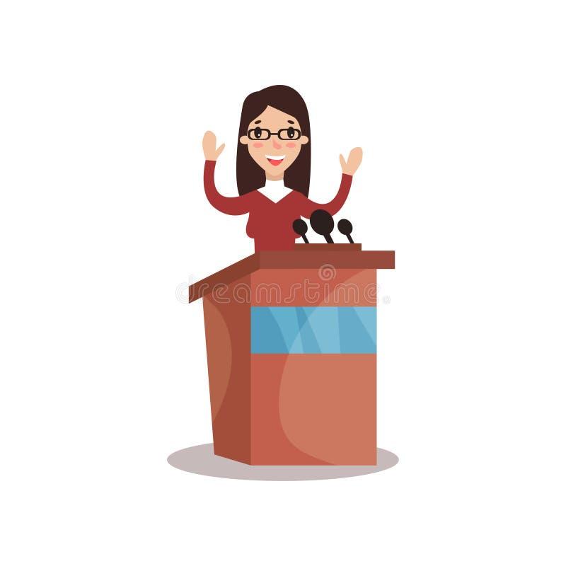 Kvinnligt politikerteckenanseende bak talarstol med att lyfta händer och att ge ett anförande, offentlig högtalare som är politis stock illustrationer