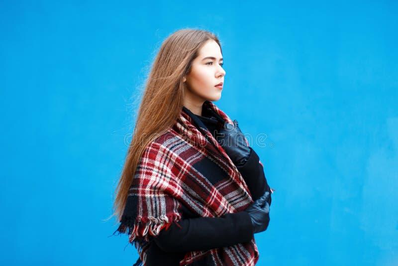 Kvinnligt profilera Härlig ung flicka med en halsduk och ett lag royaltyfri foto