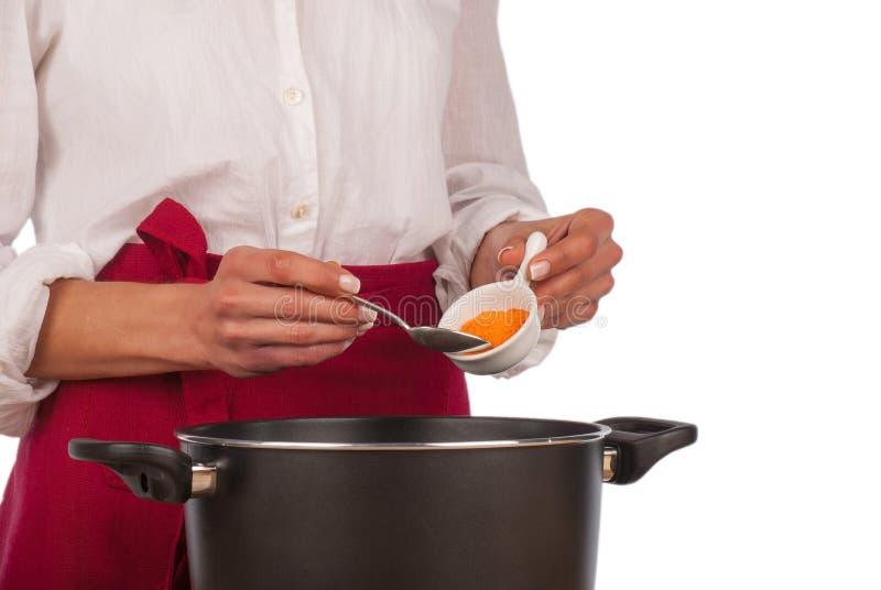 Matlagning med hemmastadd curry arkivbilder