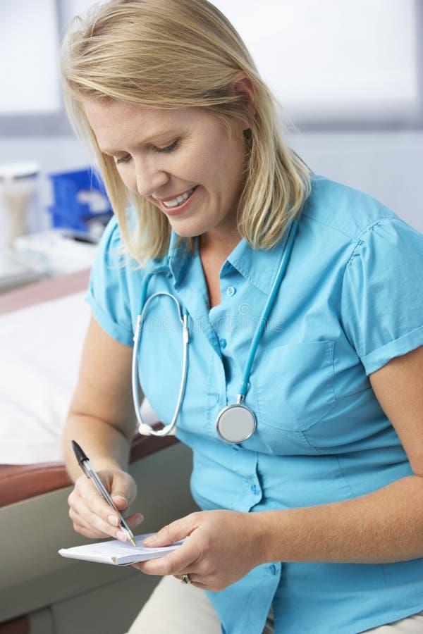 Kvinnligt recept för doktor In Surgery Writing ut royaltyfria foton