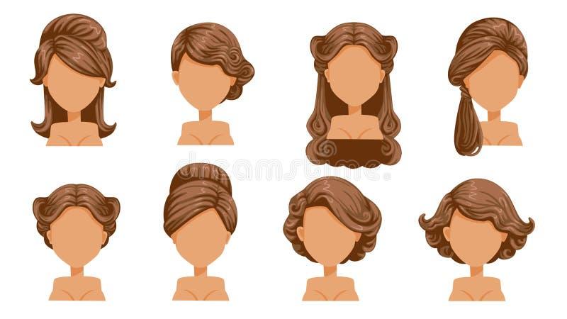 Kvinnligt retro hår vektor illustrationer
