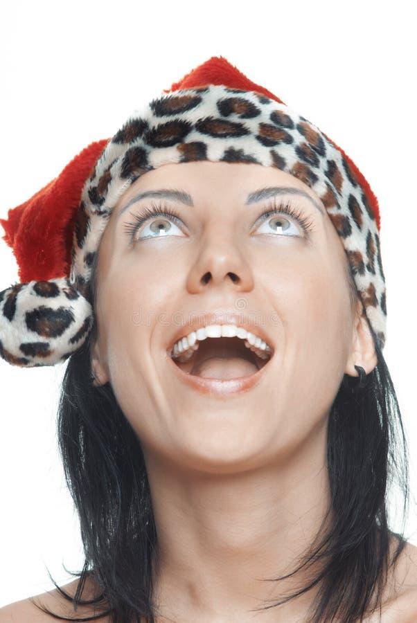 Kvinnligt skratta för jultomten royaltyfri fotografi
