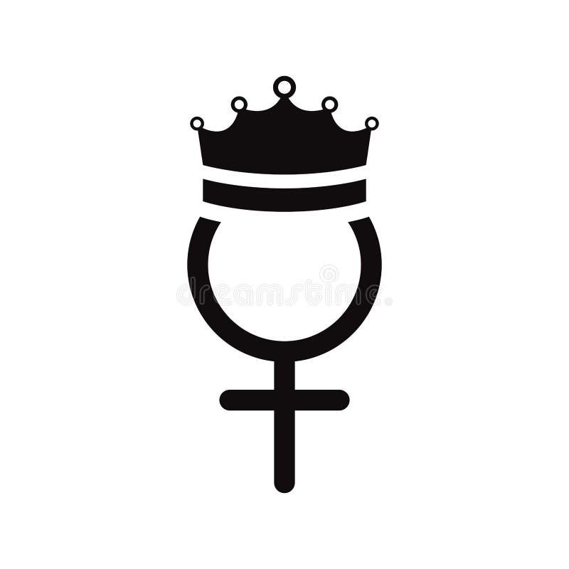 Kvinnligt symbol för genus med kronan stock illustrationer