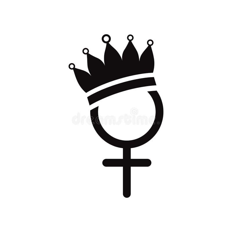 Kvinnligt symbol för genus med kronan royaltyfri illustrationer