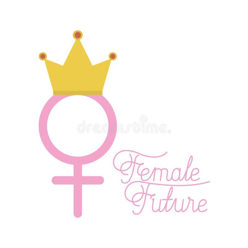 Kvinnligt symbol för genus med kronan vektor illustrationer