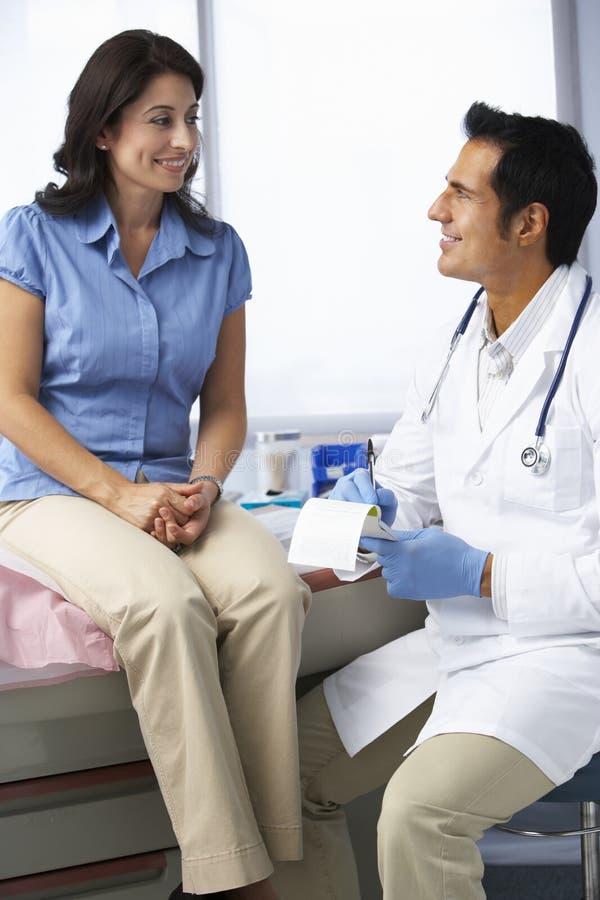 Kvinnligt tålmodigt handstilrecept för doktor In Surgery With royaltyfri foto