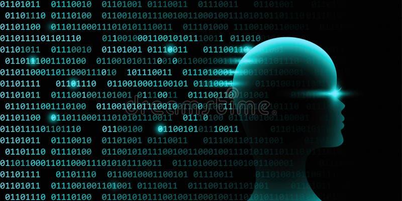 Kvinnligt teknologibegrepp för konstgjord intelligens med binär kod royaltyfri illustrationer