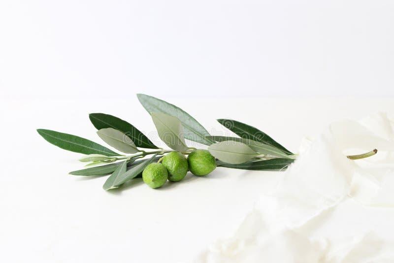 Kvinnligt utformat materielfotografi Closeup av den olivgröna filialen som dekoreras av det siden- bandet på vit tabellbakgrund fotografering för bildbyråer