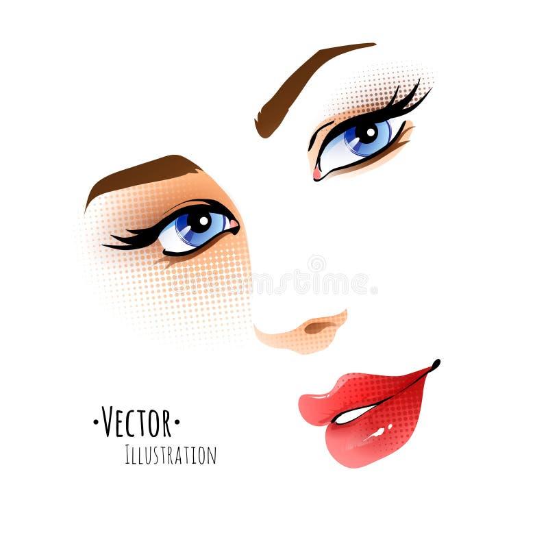 Kvinnligt vända mot vektor illustrationer
