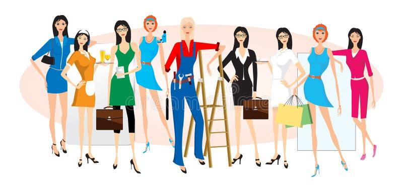 Kvinnligyrken stock illustrationer
