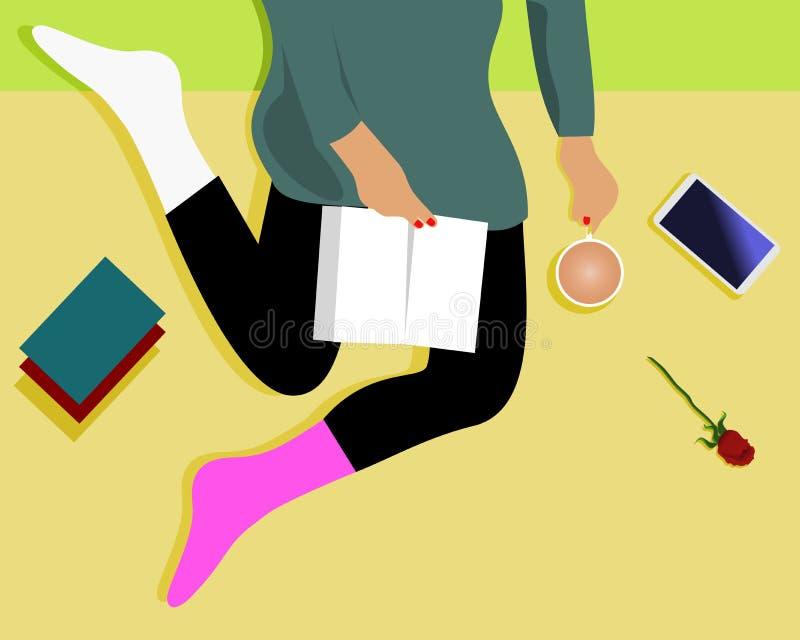 Kvinnor är läseböcker och att ha kaffekoppar, mobiltelefonböcker och rosor royaltyfri illustrationer