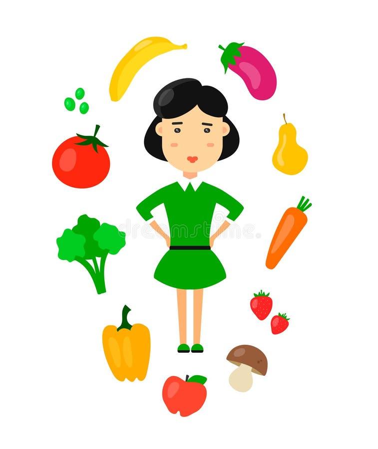 Kvinnor äter organiskt vegetariskt sunt matbegrepp för natur Plan illustration för symbol för vektortecknad filmtecken Banta sunt royaltyfri illustrationer