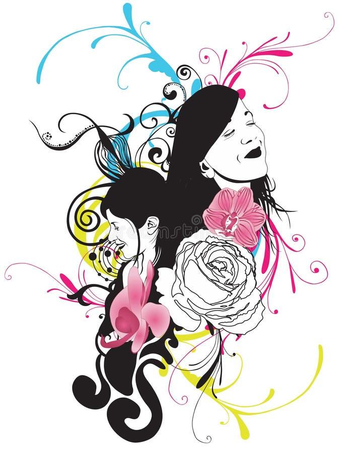 kvinnor stock illustrationer
