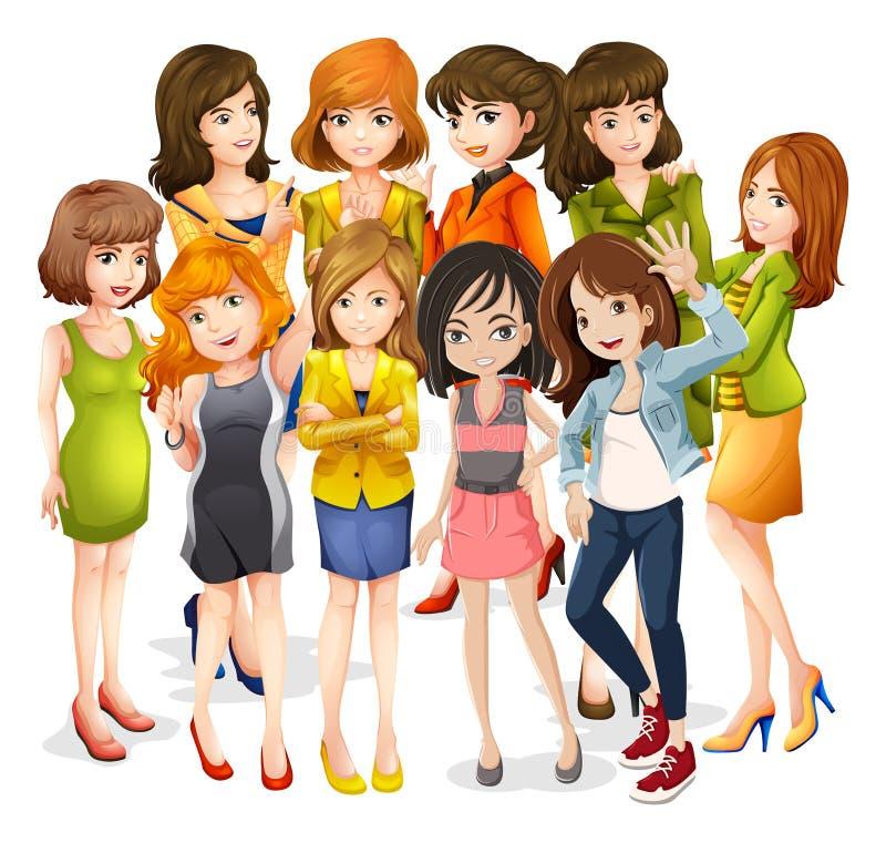 Kvinnor vektor illustrationer