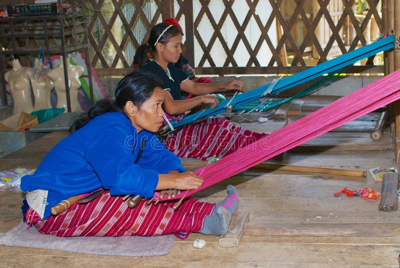 Kvinnor av den vita Karen kullestammen som väver i Doi Inthanon, Thailand arkivbilder