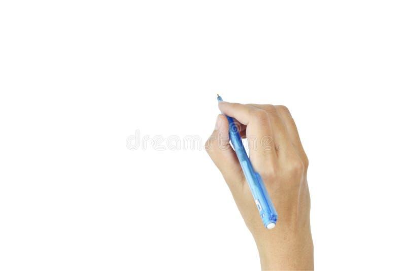 Kvinnor av handen med pennhandstilisolaten på vit bakgrund arkivfoto