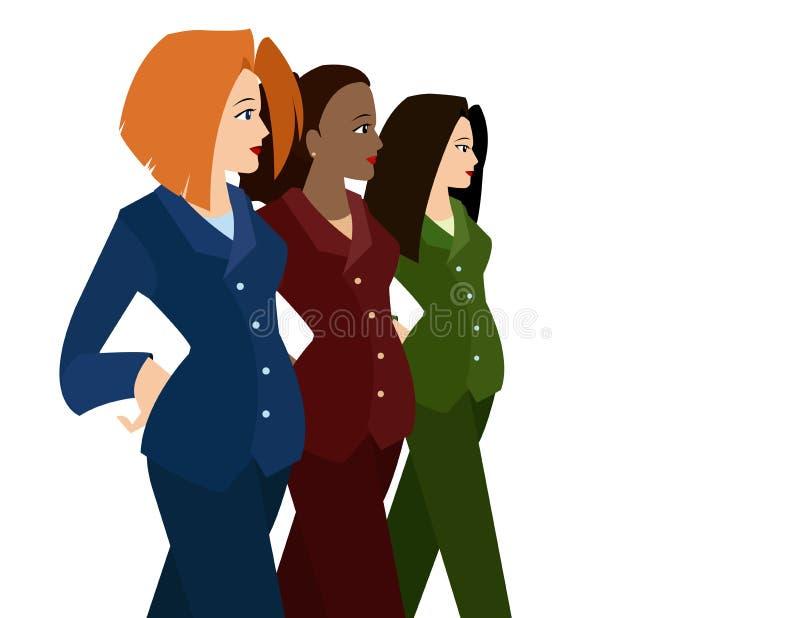 kvinnor för affärsdräkter royaltyfri illustrationer