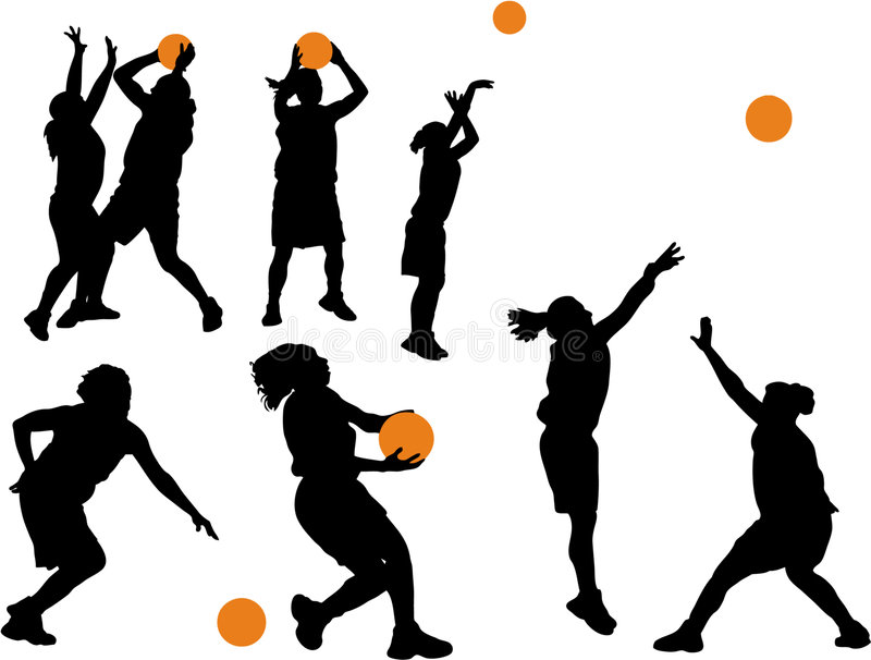 kvinnor för basket s royaltyfri illustrationer