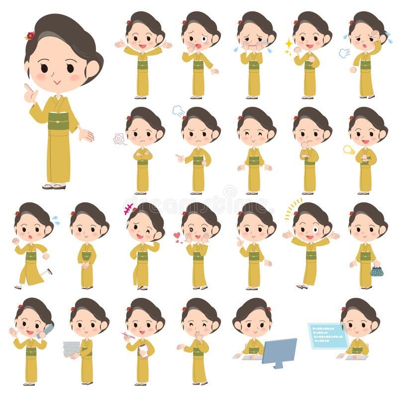 Kvinnor för gul ockra för kimono royaltyfri illustrationer