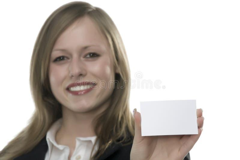 kvinnor för hand för affärskort royaltyfria foton