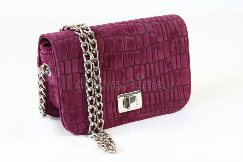 kvinnor för hud för handväska för kopplingskrokodildag lila royaltyfri foto