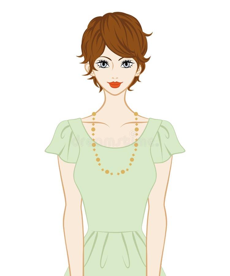 Kvinnor för kort hår vektor illustrationer