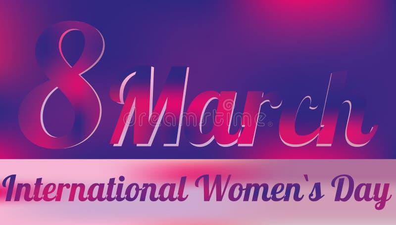 8 kvinnor för marsch s för dag internationella vektor illustrationer