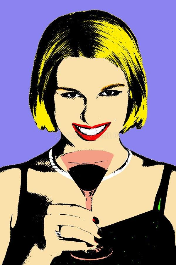 kvinnor för pop för konstcoctail glass stock illustrationer