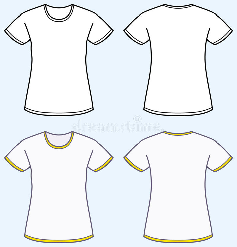 kvinnor för sikt för skjorta t för tillbaka framdel s vektor illustrationer