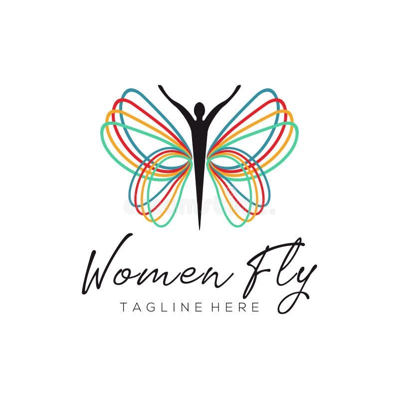 Kvinnor flyger regnbågelogo och symbolsdesign vektor illustrationer