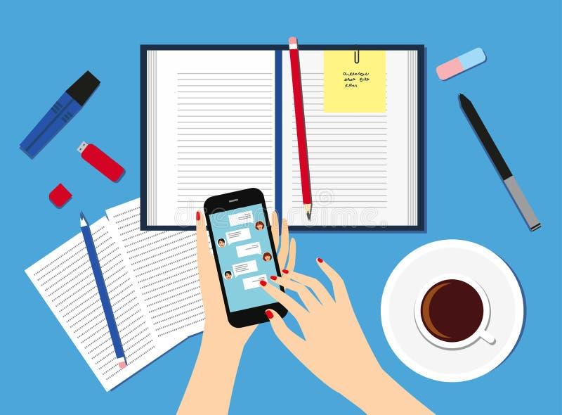 Kvinnor i arbetsplatsen Bästa sikt av kvinnlighänder, skrivbord, bärbar datorskärm, illustration stock illustrationer