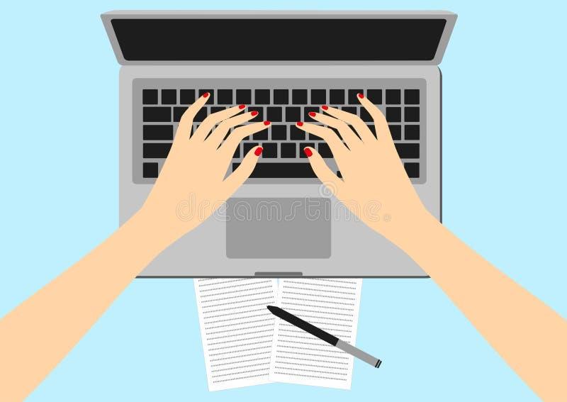Kvinnor i arbetsplatsen Illustration för vektor för skärm för handskrivbordbärbar dator av affärsfolk Vinkel för bästa sikt ovanf stock illustrationer