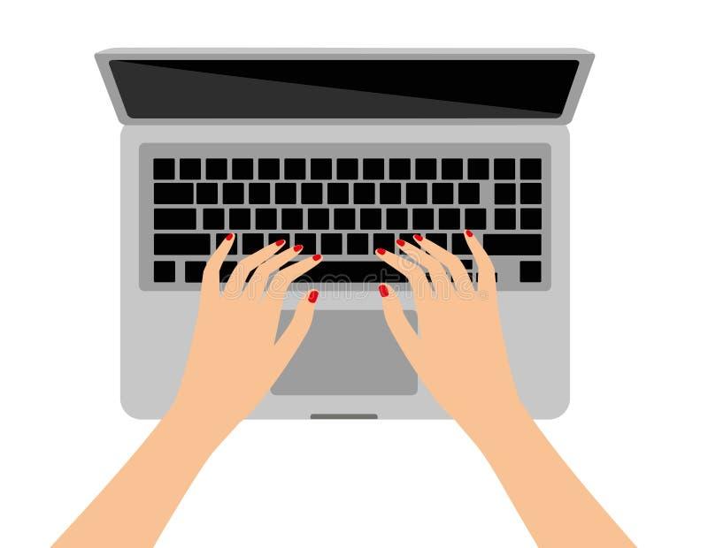 Kvinnor i arbetsplatsen Illustration för vektor för skärm för handskrivbordbärbar dator av vinkeln för sikt för överkant för affä vektor illustrationer