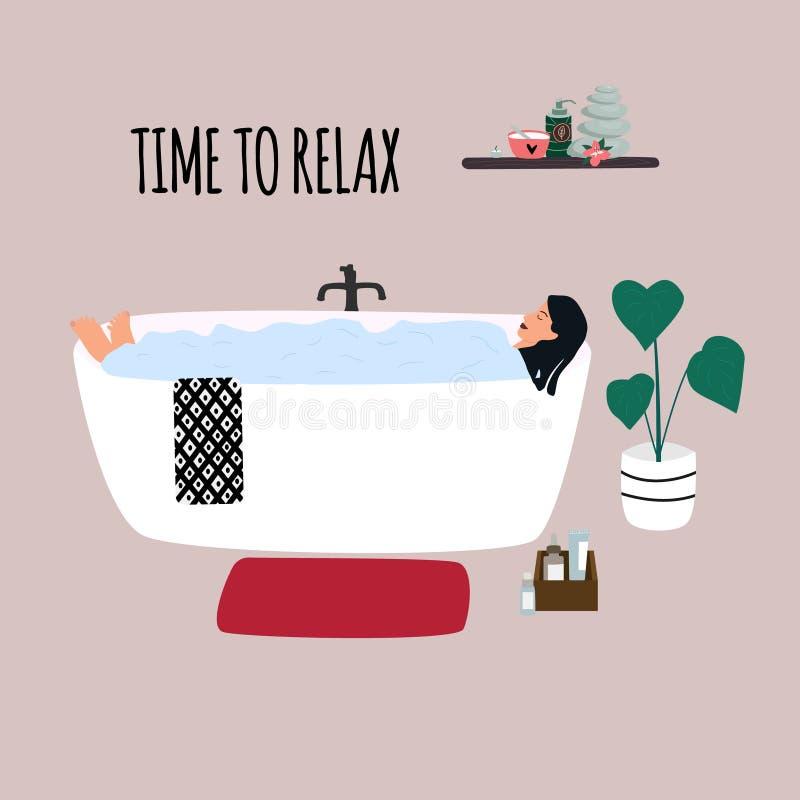 Kvinnor i badkar med bubblor En ung flicka som badar i badrummet stock illustrationer