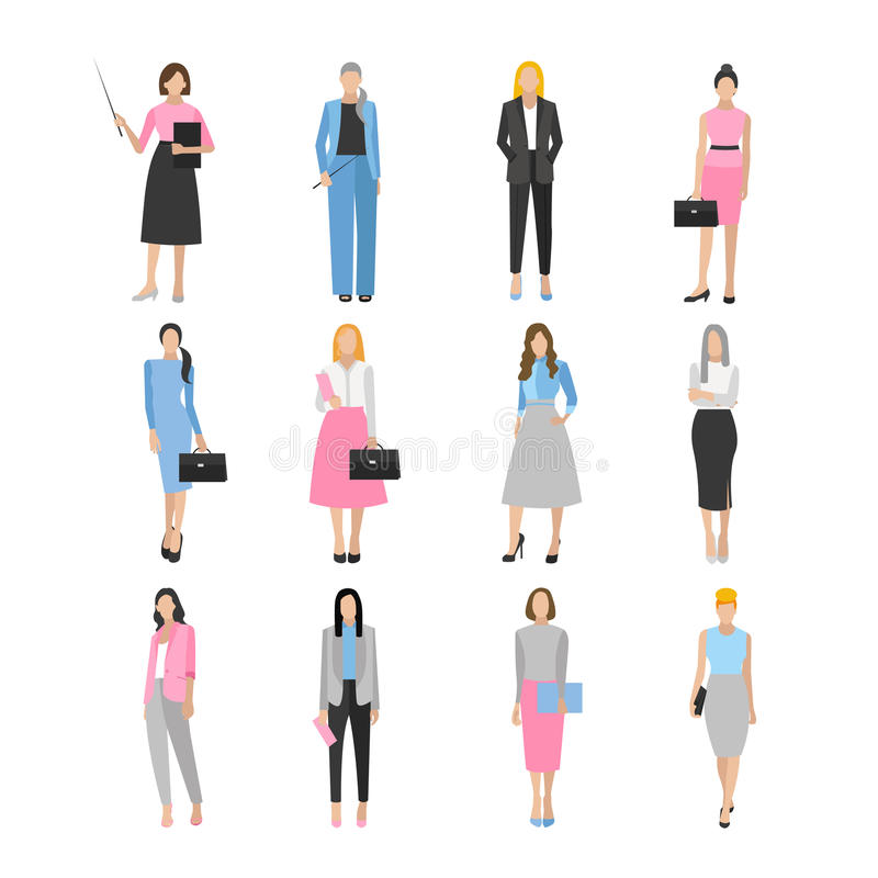 Kvinnor i elegant kontorskläder stock illustrationer