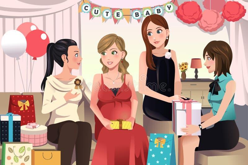 Kvinnor i ett baby showerparti vektor illustrationer
