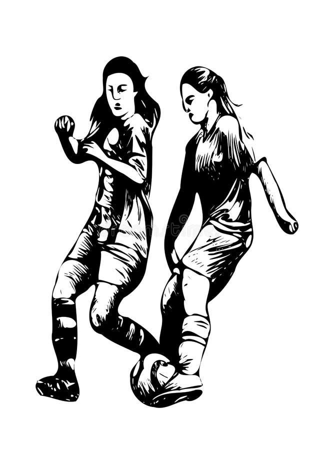 Kvinnor i fotboll - tackla och dregla stock illustrationer