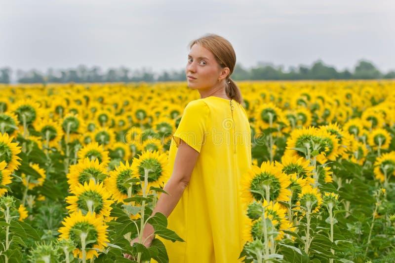 Kvinnor i gul klänning i solrosfält royaltyfria foton