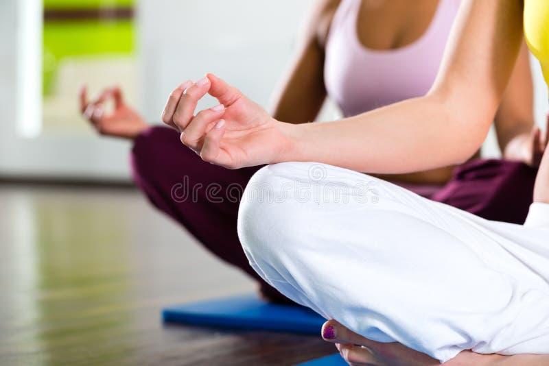 Kvinnor i idrottshallen som gör yoga, övar för kondition royaltyfria foton