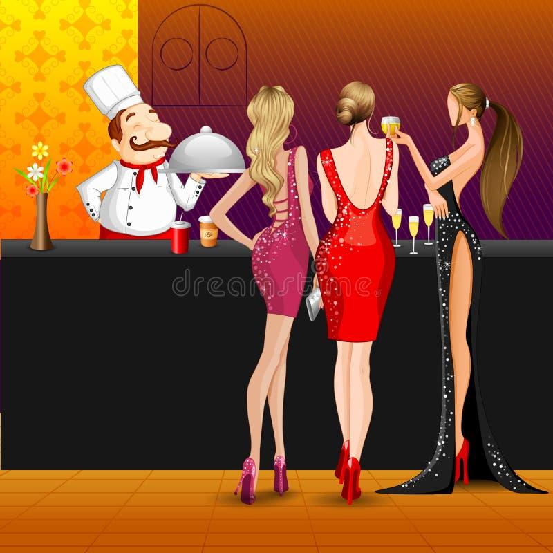 Kvinnor i parti med kocken stock illustrationer