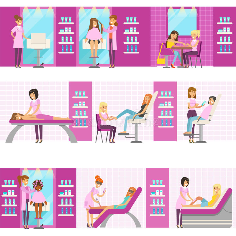 Kvinnor i skönhetsalong som tycker om hår- och Skincare behandlingar och kosmetiska tillvägagångssätt med yrkesmässiga Cosmetolog stock illustrationer