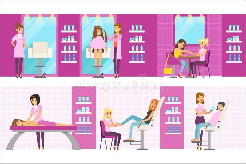 Kvinnor i sk?nhetsalong som tycker om h?r- och Skincare behandlingar och kosmetiska tillv?gag?ngss?tt med yrkesm?ssiga Cosmetolog vektor illustrationer