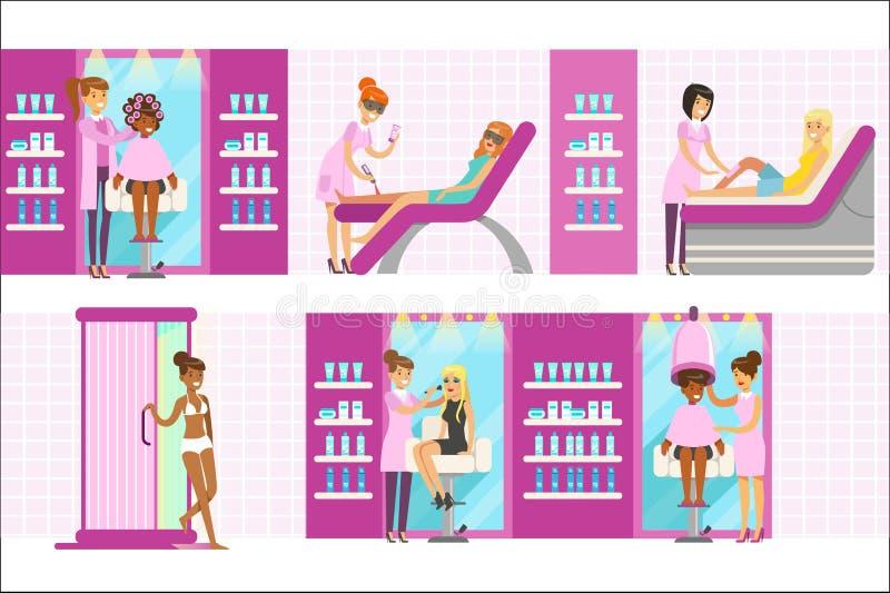 Kvinnor i sk?nhetsalong som tycker om h?r- och Skincare behandlingar och kosmetiska tillv?gag?ngss?tt med yrkesm?ssiga Cosmetolog royaltyfri illustrationer
