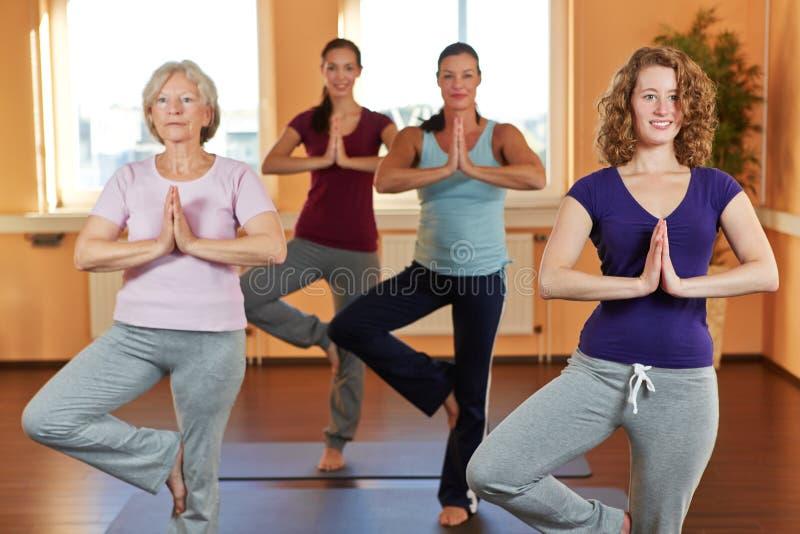 Kvinnor i yogakurs i kondition arkivbild